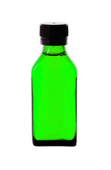 Close up of medicine bottle with green syrup isolated on white b