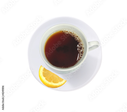 cup of tea with lemon slice isolated on white