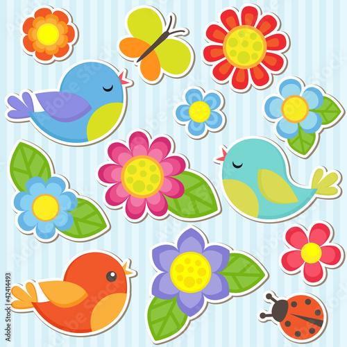 Zestaw kwiatów i ptaków