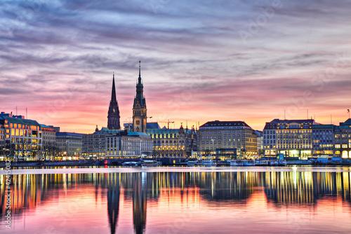 Foto op Canvas Stad aan het water Hamburg am Abend
