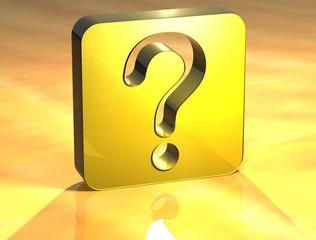 3D Question Gold Sign
