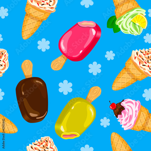 Seamless Ice cream pattern in vector