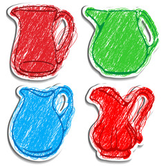 A set of vector icons of carafes. Drawed like color pencils