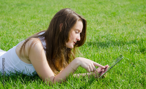 Young woman using tablet notebook