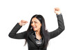 Successful businesswoman raising her arms