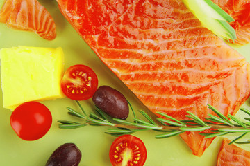 salmon fillet with vegetables and rosemary
