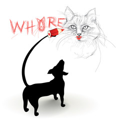 Dog hates Cat / Dachshund drawing and writing