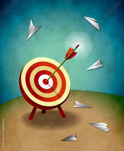 Archery Target with Arrow and Paper Airplanes Illustration