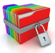 colorful computer folders with padlock. 3d image on a white
