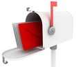 mail box with special red letter. isolated on white