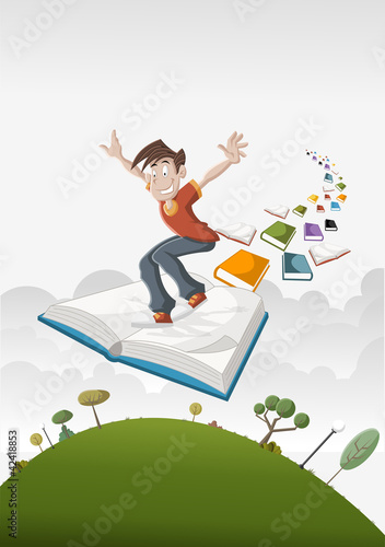 Cartoon boy flying on big book