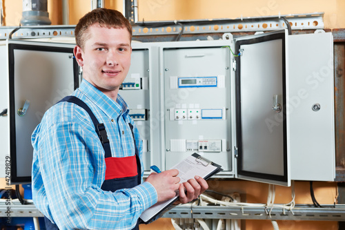 Electrician checking data