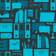 Seamless pattern with office related items.