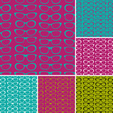 A set of seamless patterns with sunglasses.