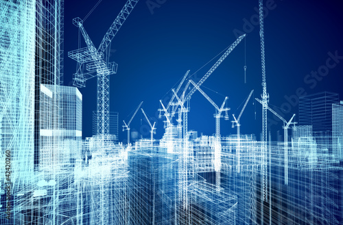 Leinwanddruck Bild construction site blueprint