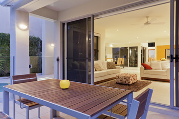 Modern backyard and living room