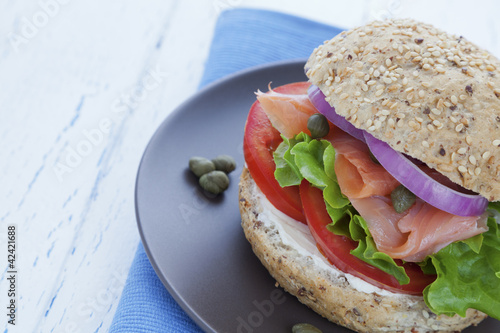 Smoked salmon burger close up