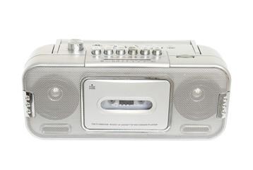 Retro radio cassette tape isolated on white background
