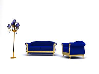 Divano elegante, lampadario, blu