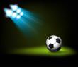 Bright spot lights and illuminated soccer (football) ball