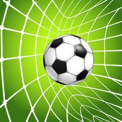 Football (soccer) ball in a net. Goal