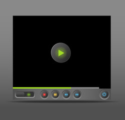 Web player for social media sites with glowing buttons