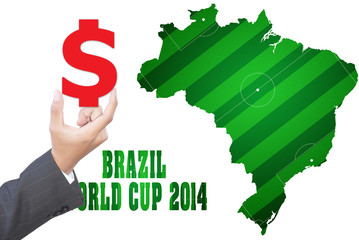Hand putting $ for Gambling in World Cup 2014.