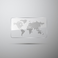 Dotted world map in the glass
