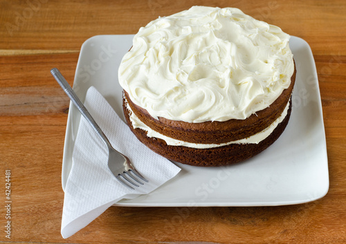 Delicious home made carrot cake with vanilla icing
