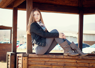 girl on the fall beach