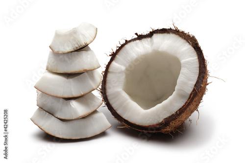 Coconut half and broken