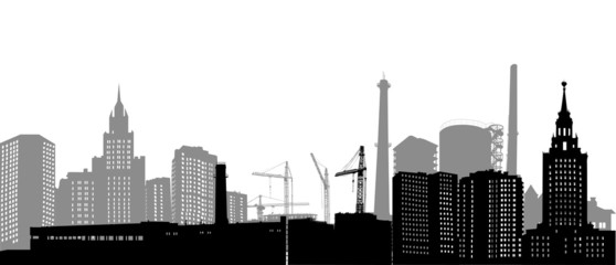 isolated industrial city landscape illustration