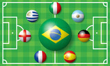 Flags of the World Cup team poster