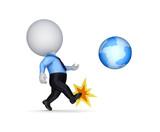 3d small person kicking a globe.