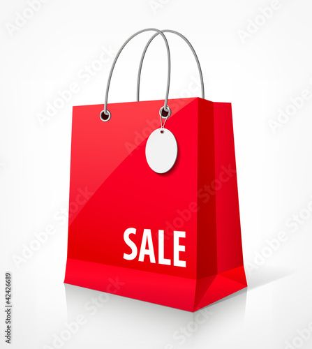 Shopping paper red bag vector illustration