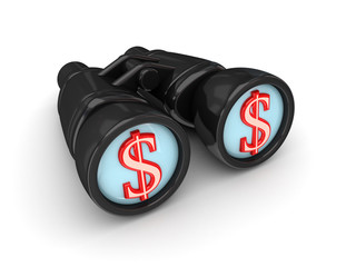 Binoculars with dollar symbol.