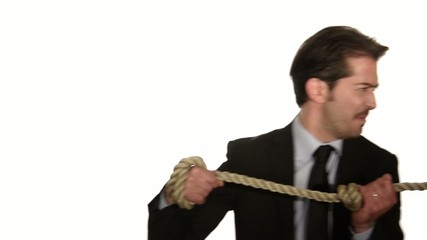 businessman in tug of war concept