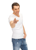 man in white shirt pointing his finger