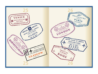 Passport page with travel stamps - traveler's visas