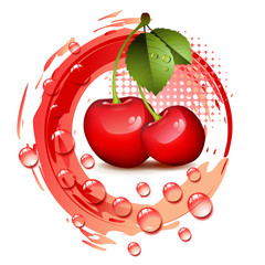 Ripe cherry with leafs and drops