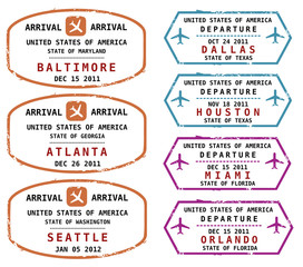 Passport stamps, US destinations