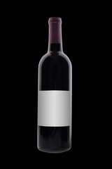 red wine bottle on black with blank label, isolated