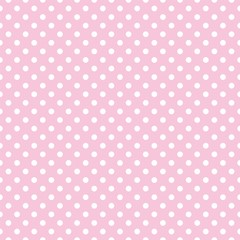 Polka dots on baby pink background retro seamless vector pattern