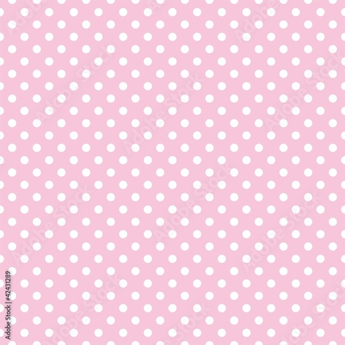 Polka dots on baby pink background retro seamless vector pattern - 42431289