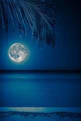 Beach at night with a glowing full moon