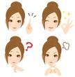女性 表情 複数