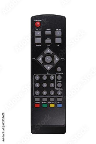 A black TV remote control - 42433408