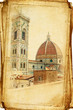 views of Florence in vintage style, like postcards