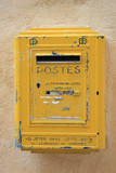 Old yellow postbox poster