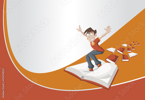 Red and orange template with cartoon boy flying on big book